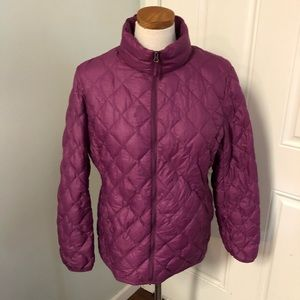 Quilted purple puffy coat full zip jacket